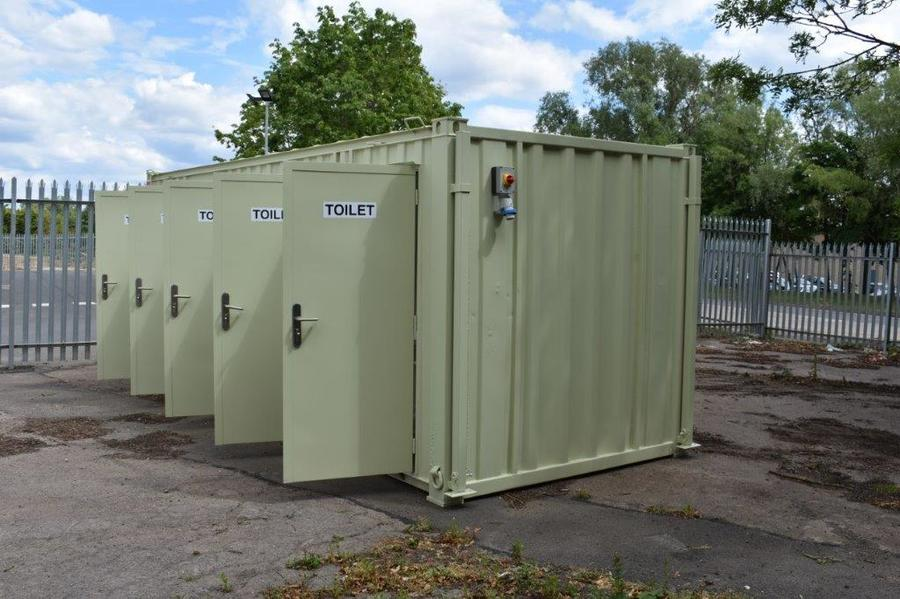 Pickerings 5 Person Portable Toilet with separate entrance doors